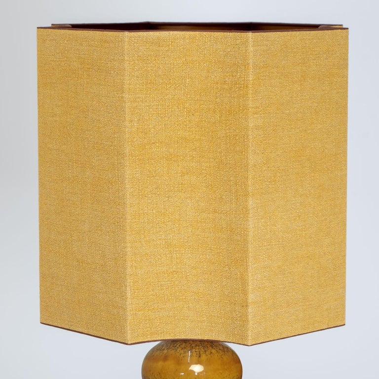 Extra Large Ceramic Lamps with New Silk Custom Made Lampshades René Houben, Pair For Sale 7
