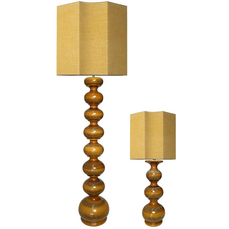 Extra Large Ceramic Lamps with New Silk Custom Made Lampshades René Houben, Pair For Sale 8