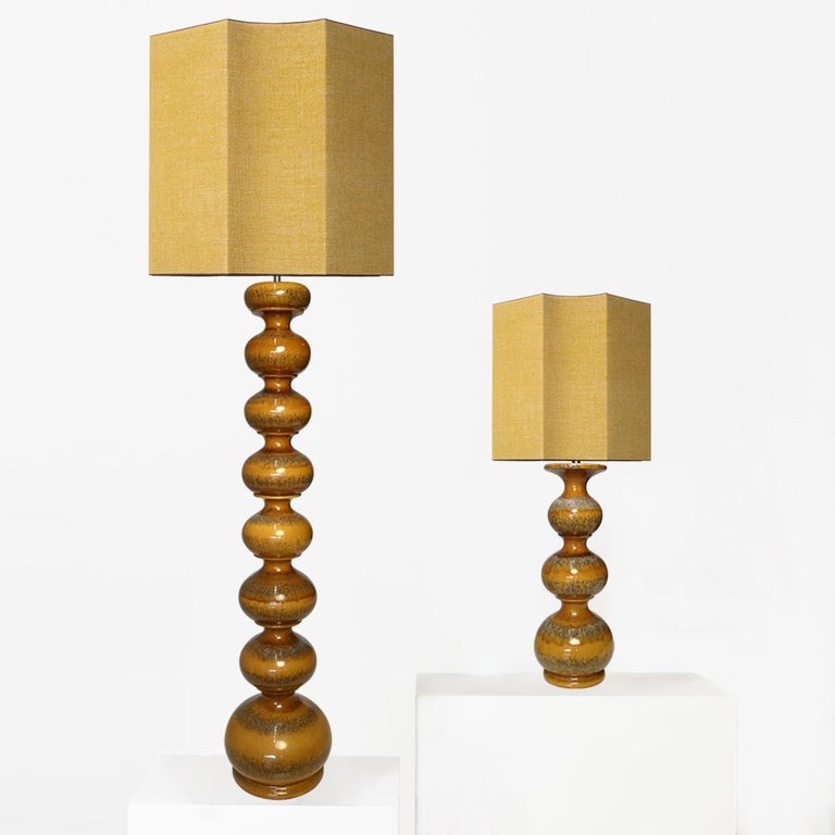 Mid-Century Modern Extra Large Ceramic Lamps with New Silk Custom Made Lampshades René Houben, Pair For Sale