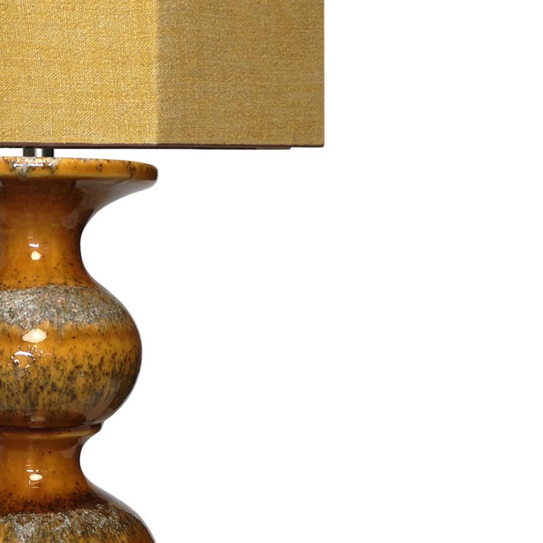 German Extra Large Ceramic Lamps with New Silk Custom Made Lampshades René Houben, Pair For Sale