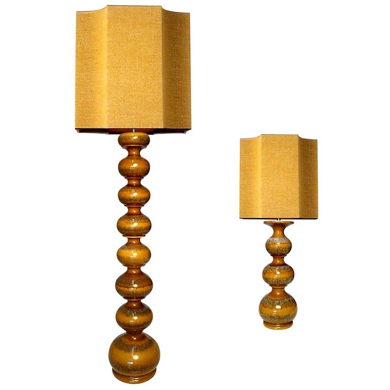 Extra Large Ceramic Lamps with New Silk Custom Made Lampshades René Houben, Pair For Sale