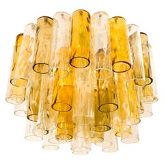 Extra Large Chandelier by Barovier & Toso Ocher and Clear Glass Tubes