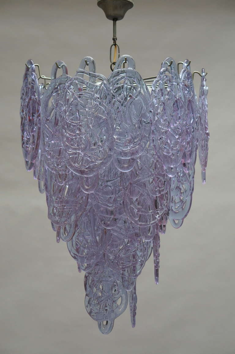 Italian Murano glass chandelier with 33 large, hand blown, violet colored wire glass discs.