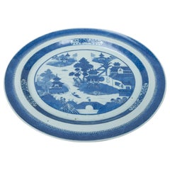 Extra Large Chinese Canton Blue and White Oval Platter
