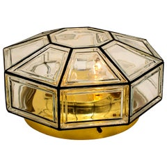 Extra Large Clear Glass Flush Mount or Wall Light by Limburg, 1960s