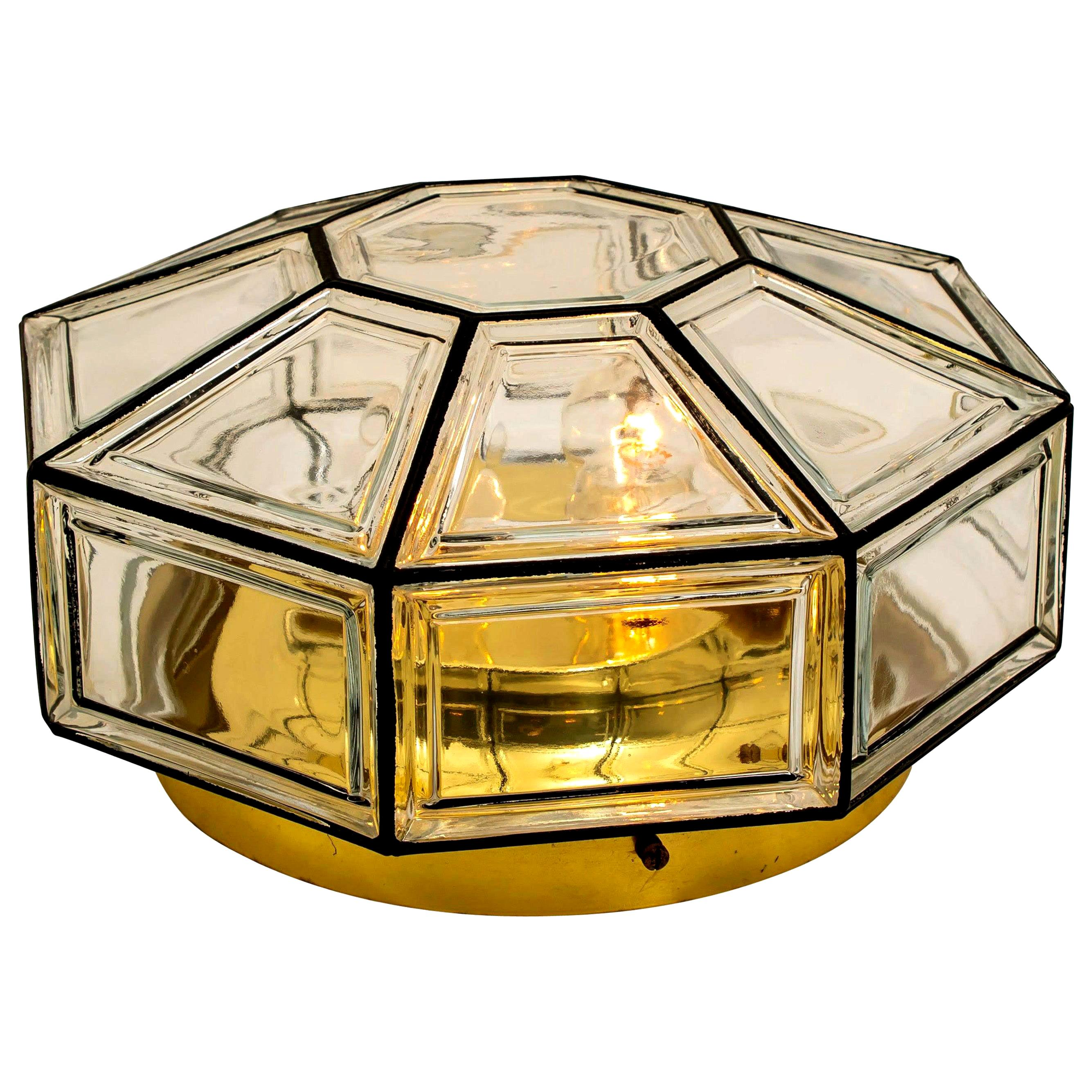 Extra Large Clear Glass Flushmount or Wall Light by Limburg, 1960s
