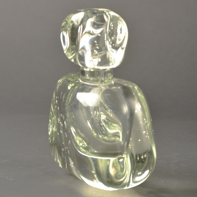 Modern Extra Large Clear Murano Glass Perfume Bottle For Sale