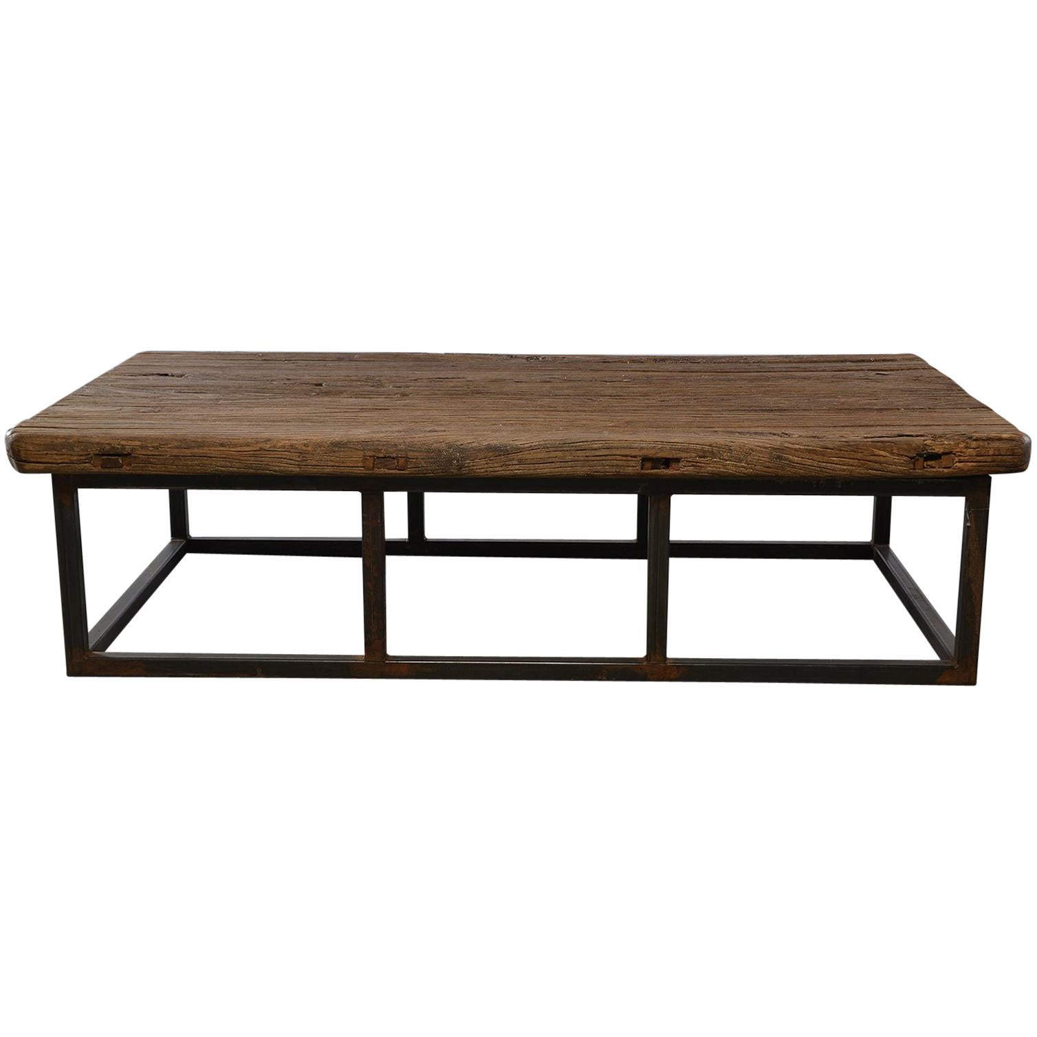 Picture of: Extra Large Coffee Table Of 19th Century Weathered Elm On Iron Base At 1stdibs