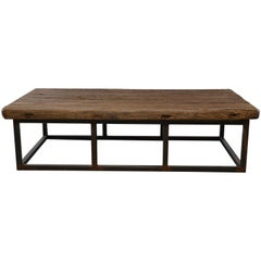Extra Large Coffee Table of 19th Century Weathered Elm on Iron Base