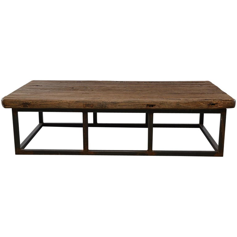 Extra Large Stone Coffee Table: Extra Large Coffee Table Of 19th Century Weathered Elm On Iron Base For Sale At 1stdibs