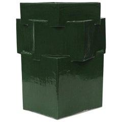 Extra Large Contemporary Ceramic Chrome Green Hexagon Planter