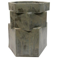 Extra Large Contemporary Ceramic Gray Hexagon Planter