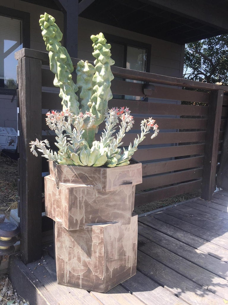 Extra large contemporary ceramic palladium Hexagon planter for indoor and outdoor use, in specific climates. Not meant for outdoor winter use. Custom hexagon water tray included with purchase for indoor use, please specify. Unlimited edition,