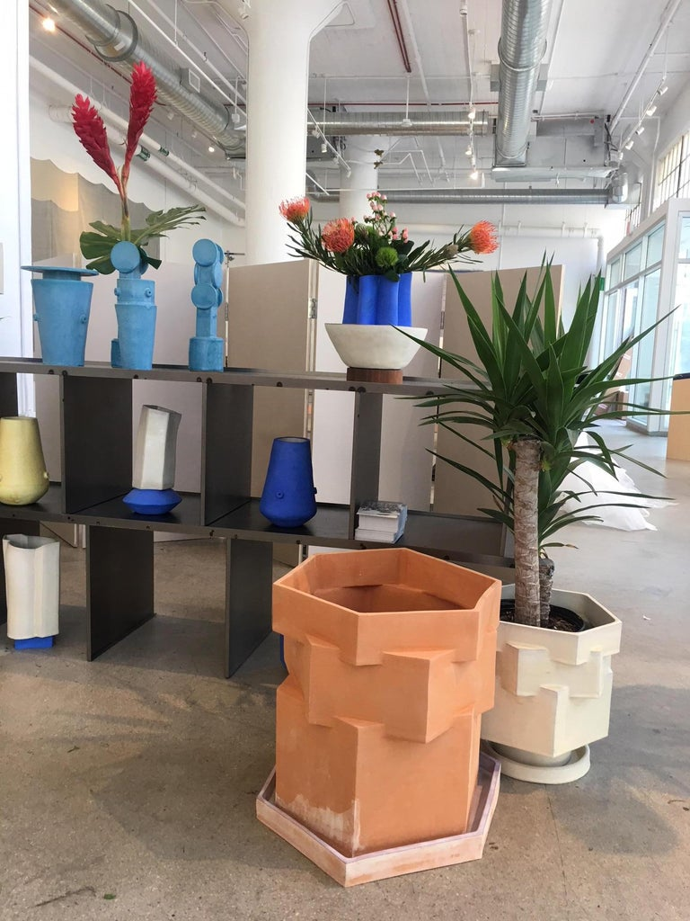 Extra large contemporary ceramic raw terracotta hexagon planter for indoor and outdoor use, in specific climates. Not meant for outdoor winter use. Custom hexagon water tray included with purchase for indoor use, please specify. Unlimited edition,