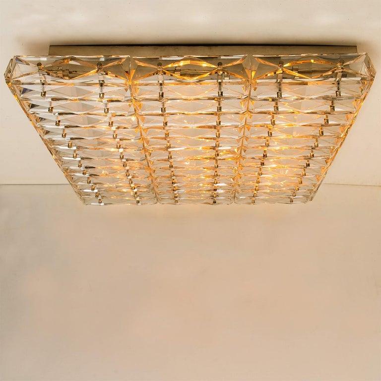 Austrian Extra Large Crystal Glass and Flush Mount J.T Kalmar Modernist Design For Sale