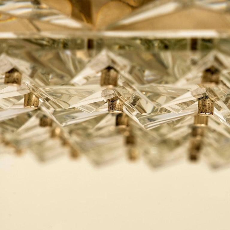 Extra Large Crystal Glass and Flush Mount J.T Kalmar Modernist Design In Good Condition For Sale In Rijssen, NL