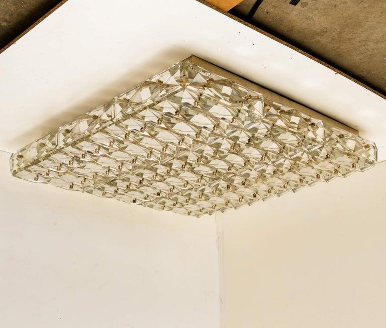 20th Century Extra Large Crystal Glass and Flush Mount J.T Kalmar Modernist Design For Sale