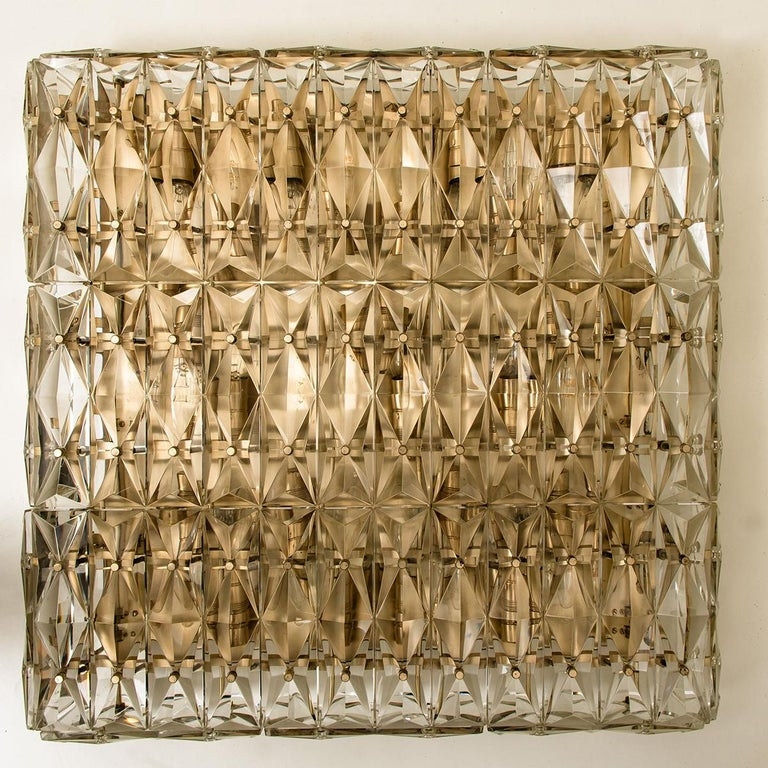 Extra Large Crystal Glass and Flush Mount J.T Kalmar Modernist Design For Sale 1