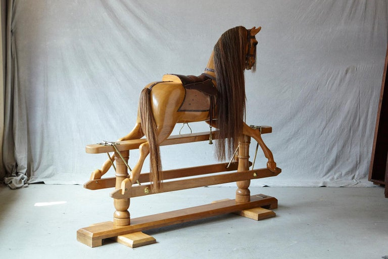 Extra Large Custom Made Oak Rocking Horse by Stevenson Brothers, England For Sale 7