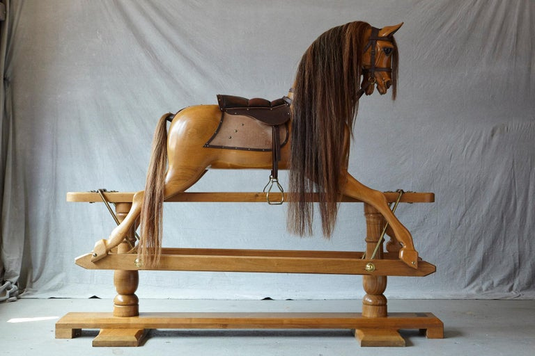 English Extra Large Custom Made Oak Rocking Horse by Stevenson Brothers, England For Sale