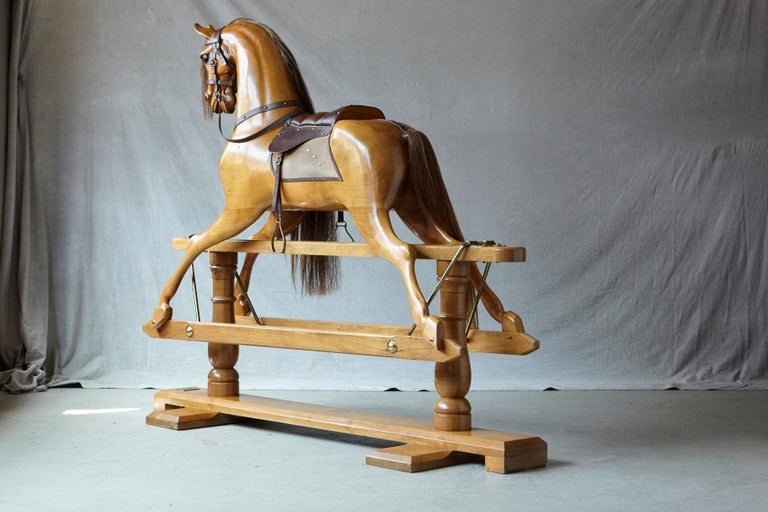 Extra Large Custom Made Oak Rocking Horse by Stevenson Brothers, England In Excellent Condition For Sale In Weston, CT