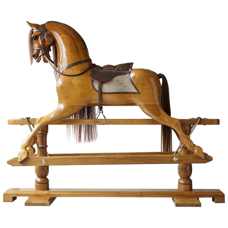 Extra Large Custom Made Oak Rocking Horse by Stevenson Brothers, England For Sale