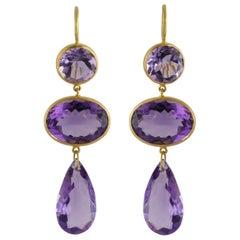 Ico & the Bird Fine Jewelry 35 carats Amethyst 22k Gold Earrings