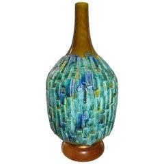 Extra Large Drip Glazed Blue Turquoise Brutalist Textured Lamp Midcentury