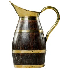 Extra Large Early 20th Century English Brass and Oak Jug