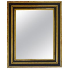 Extra Large Ebonized Black and Gold Gilt Frame Mirror, France, 19th Century