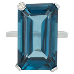Extra Large Emerald Cut Blue Topaz White Diamond Solitaire Ring 14 Karat Gold