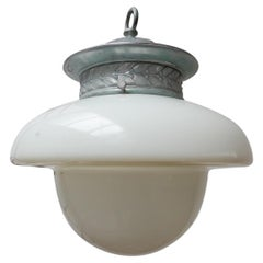 Extra Large English Opaline and Clear Glass Pendant Light