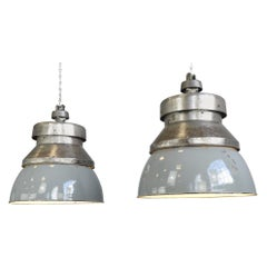 Extra Large Factory Pendant Lights by Kandem, circa 1930s