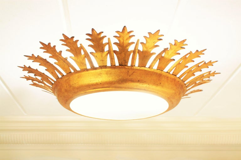 Extra Large Gilt Iron Crown Sunburst Ceiling Light Fixture with Frosted Glass For Sale 3