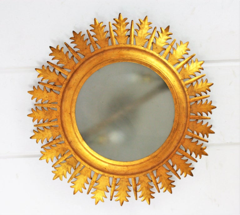 Gold Leaf Extra Large Gilt Iron Crown Sunburst Ceiling Light Fixture with Frosted Glass For Sale