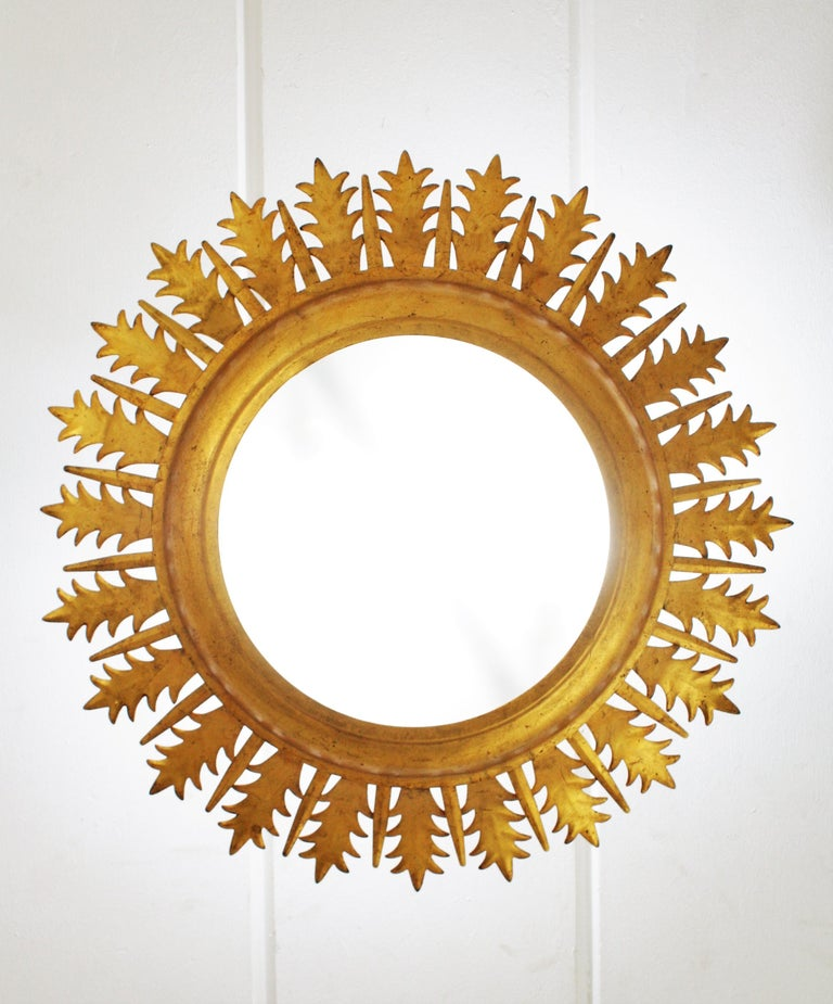 Extra Large Gilt Iron Crown Sunburst Ceiling Light Fixture with Frosted Glass For Sale 1