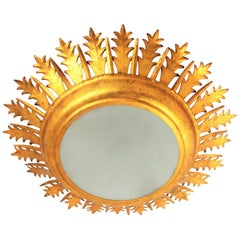Extra Large Gilt Iron Crown Sunburst Ceiling Light Fixture with Frosted Glass
