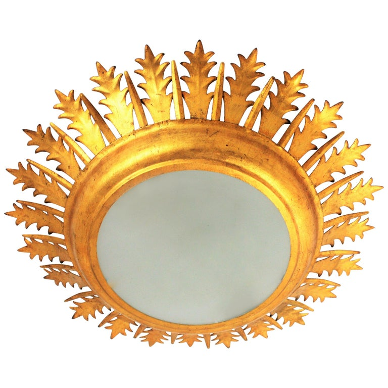 Extra Large Gilt Iron Crown Sunburst Ceiling Light Fixture with Frosted Glass For Sale