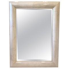Extra Large Goatskin Beveled Mirror by Karl Springer