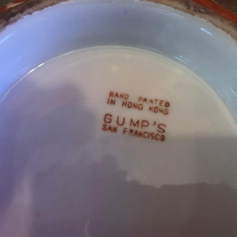 Extra Large Gumps Hand Painted Made in Hong Kong Porcelain Bowl For Sale 6