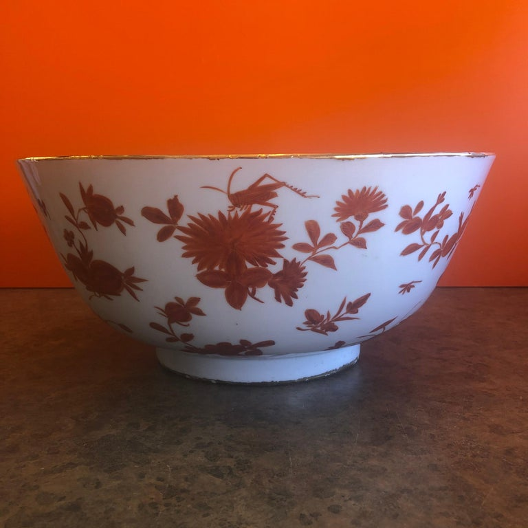 Extra large hand painted made in Hong Kong porcelain bowl from Gumps, circa 1970. This gorgeous bowl has a wonderful floral and grasshopper design and measures: 14.25