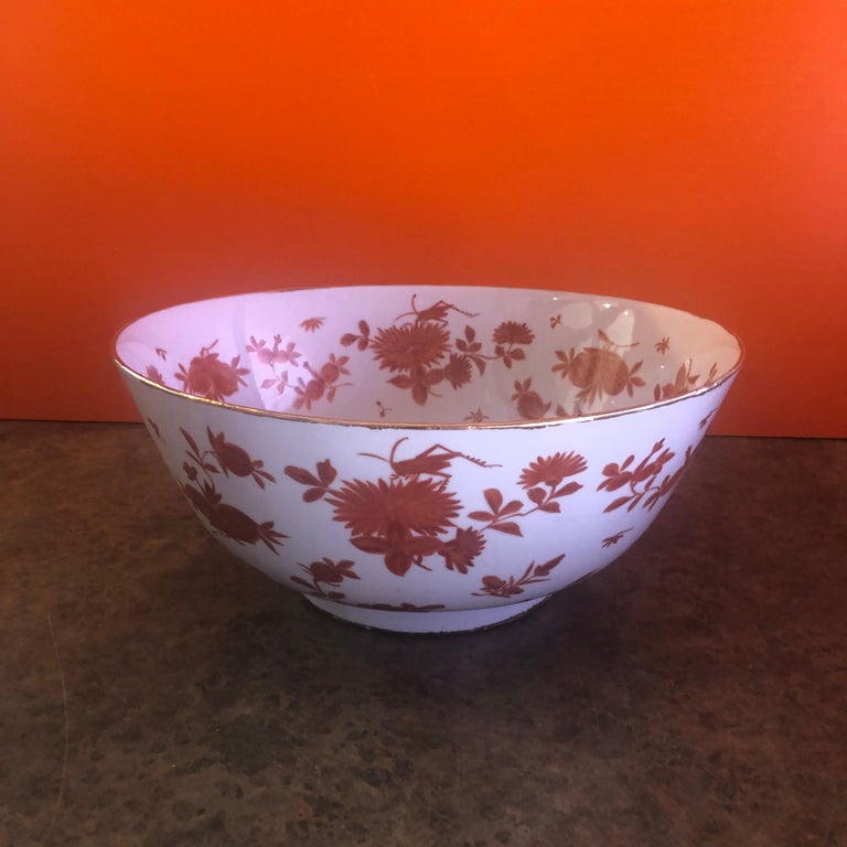 Extra Large Gumps Hand Painted Made in Hong Kong Porcelain Bowl In Good Condition For Sale In San Diego, CA