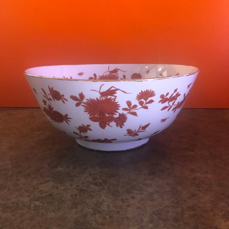 20th Century Extra Large Gumps Hand Painted Made in Hong Kong Porcelain Bowl For Sale