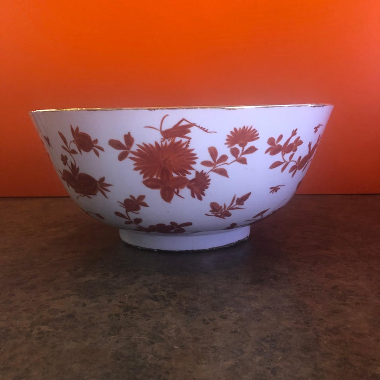 Extra Large Gumps Hand Painted Made in Hong Kong Porcelain Bowl For Sale 1