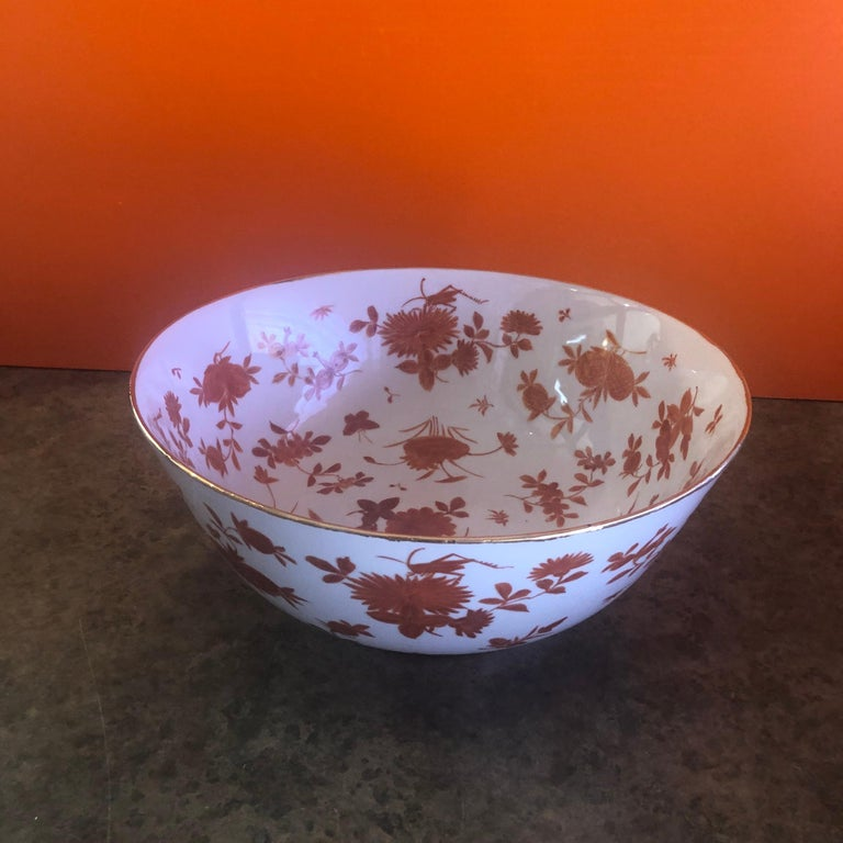 Extra Large Gumps Hand Painted Made in Hong Kong Porcelain Bowl For Sale 2