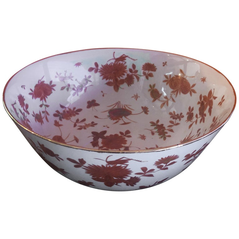 Extra Large Gumps Hand Painted Made in Hong Kong Porcelain Bowl For Sale