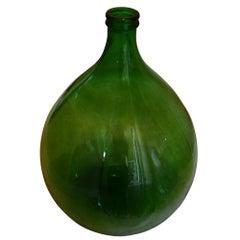 Extra-Large Hand Blown Glass Balloon Demijohn Rich Green