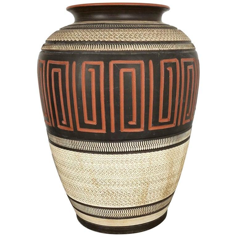 "Extra Large Handmade Ceramic Pottery Floor Vase ""Korinth"", Germany, 1960s For Sale"