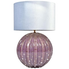 Extra Large Italian 1950s Purple and Gold Murano Ball Table Lamp