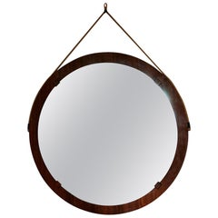 Extra Large Italian Midcentury Circular Rosewood Wall Mirror with Rope